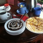 Breakfast! Black Rice Pudding, pineapple pancake and coffee, and a bowl of fruit